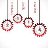 Palavra do ano novo feliz, 2014 com engrenagem Fotos de Stock Royalty Free