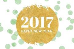 Palavra do ano novo feliz 2017 no brilho do círculo do ouro na luz - verde ilustração do vetor