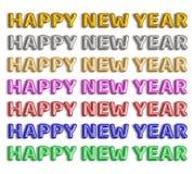 Palavra do balão da folha do ano novo feliz no fundo branco imagens de stock royalty free