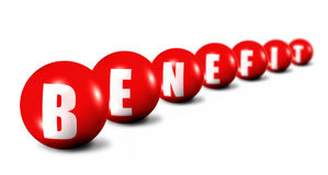 Palavra do benefício feita das esferas no branco Fotos de Stock
