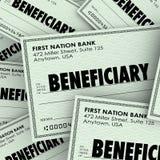 A palavra do beneficiário verifica o dinheiro destinatário Inheritan do herdeiro do seguro Fotografia de Stock