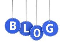 Palavra do blogue em etiquetas penduradas Foto de Stock Royalty Free