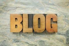 Palavra do blogue no tipo de madeira Foto de Stock