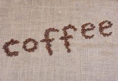 Palavra do café com feijões fotos de stock
