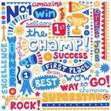 A palavra do campeão dos esportes Doodles a ilustração do vetor Fotografia de Stock Royalty Free