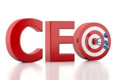 palavra do CEO 3d com alvo vermelho Conceito do negócio Imagens de Stock Royalty Free