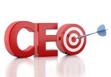 palavra do CEO 3d com alvo vermelho Conceito do negócio Imagens de Stock