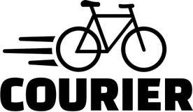 Palavra do correio com ícone da bicicleta Imagens de Stock