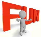 A palavra do divertimento mostra a apreciação Joy And Happiness Imagens de Stock