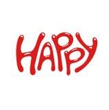 Palavra do estilo dos desenhos animados feliz Ilustração do vetor Fotografia de Stock Royalty Free