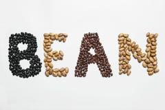 Palavra do feijão feita de sementes diferentes do feijão Imagem de Stock Royalty Free