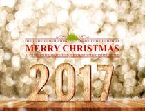 Palavra do Feliz Natal 2017 na sala da perspectiva com sparklin do ouro Imagens de Stock Royalty Free