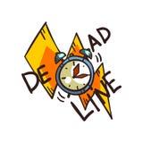 Palavra do fim do prazo e despertador, ilustração do vetor do limite de tempo em um fundo branco Fotografia de Stock