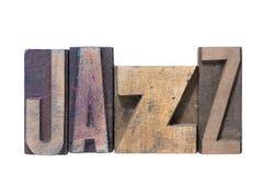 Palavra do jazz de madeira imagem de stock
