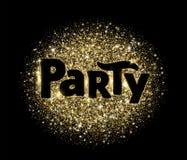 Palavra do partido, bandeira do brilho com tipografia Sparkles dourados no fundo preto Imagens de Stock Royalty Free