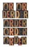 Palavra do pedido no tipo da madeira do vintage Fotografia de Stock