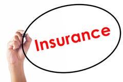 Palavra do seguro da escrita do homem de negócios com pena Imagem de Stock Royalty Free