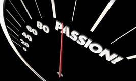 Palavra do velocímetro da medida dos sentimentos fortes do amor da paixão Imagem de Stock