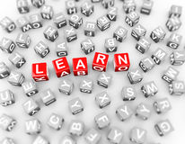 a palavra dos cubos dos blocos dos alfabetos 3d aprende Imagens de Stock