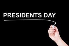Palavra dos presidentes Dia escrita Imagens de Stock