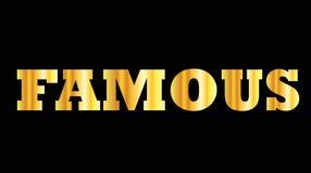 Palavra dourada brilhante da letra principal famosa ilustração do vetor