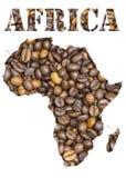 Palavra e geográfico de África dados forma com fundo dos feijões de café Imagem de Stock Royalty Free
