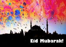 a palavra EID MUBARAK escrito ao lado de uma mesquita Foto de Stock