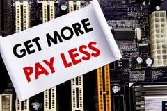 A palavra, escrevendo obtém a mais pagamento menos Conceito do negócio para o conceito do slogan do orçamento escrito na nota peg fotografia de stock
