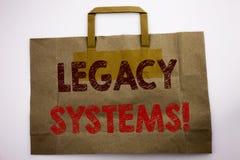 Palavra, escrevendo sistemas de legado O conceito do negócio para a elevação SOA Application Written no saco de compras, branco i fotografia de stock royalty free