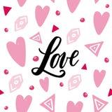 Palavra escrita à mão do amor no fundo do abstrackt Teste padrão sem emenda Fotos de Stock Royalty Free