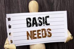 A palavra, escrita, text necessidades básicas Saúde conceptual da foto na falta essencial do alimento dos países em vias de desen fotos de stock