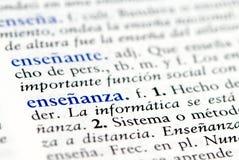 Palavra espanhola para a instrução Imagem de Stock