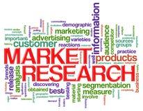 A palavra etiqueta estudos de mercado Fotos de Stock