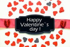 Palavra feliz do dia do ` s do Valentim no cartão Imagem de Stock Royalty Free