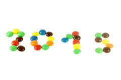 A palavra 2015 fez dos doces coloridos Imagens de Stock