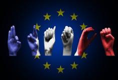 Palavra france sobre a bandeira da União Europeia Fotos de Stock Royalty Free