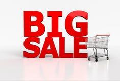 Palavra grande da venda 3d e carrinho de compras realístico no fundo branco Fotos de Stock