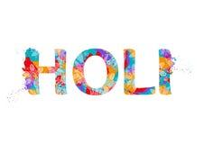 Palavra Holi com teste padrão abstrato multicolorido Fotos de Stock Royalty Free