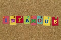 Palavra infame escrita em notas pegajosas coloridas Imagens de Stock