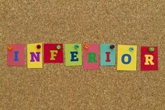 Palavra inferior escrita em notas pegajosas coloridas Imagens de Stock Royalty Free