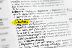 Palavra inglesa destacada & x22; diplomacy& x22; e sua definição no dicionário imagem de stock royalty free