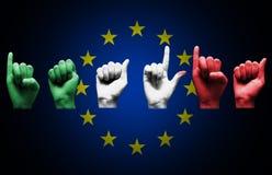Palavra italia sobre a bandeira da União Europeia Fotografia de Stock