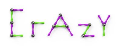A palavra JOGO das varas e das bolas coloridas, elementos multicoloridos do construtor magnético rendição 3d ilustração do vetor