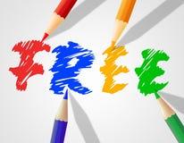 A palavra livre das crianças indica com nossos cumprimentos e infância Foto de Stock Royalty Free