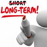 Palavra a longo prazo contra o melhor investimento mais atrasado curto M dos resultados mais por muito tempo Imagens de Stock