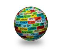 Palavra multilingue 3d do amor fotografia de stock royalty free