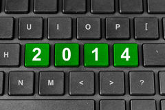 palavra 2014 no teclado Fotografia de Stock