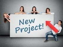 Palavra nova do projeto na bandeira Fotos de Stock Royalty Free