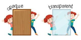 Palavra oposta inglesa opaca e transparente ilustração stock