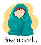 A palavra para tem um frio com a criança na cobertura ilustração royalty free